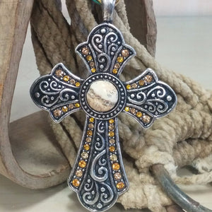 Cross withTopaz Accents Pendant - Oak Spring Bling
