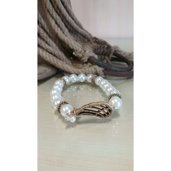 Pearl & Wing Stretch Bracelet - Oak Spring Bling