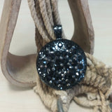 Black Round Bling Pendant - Oak Spring Bling