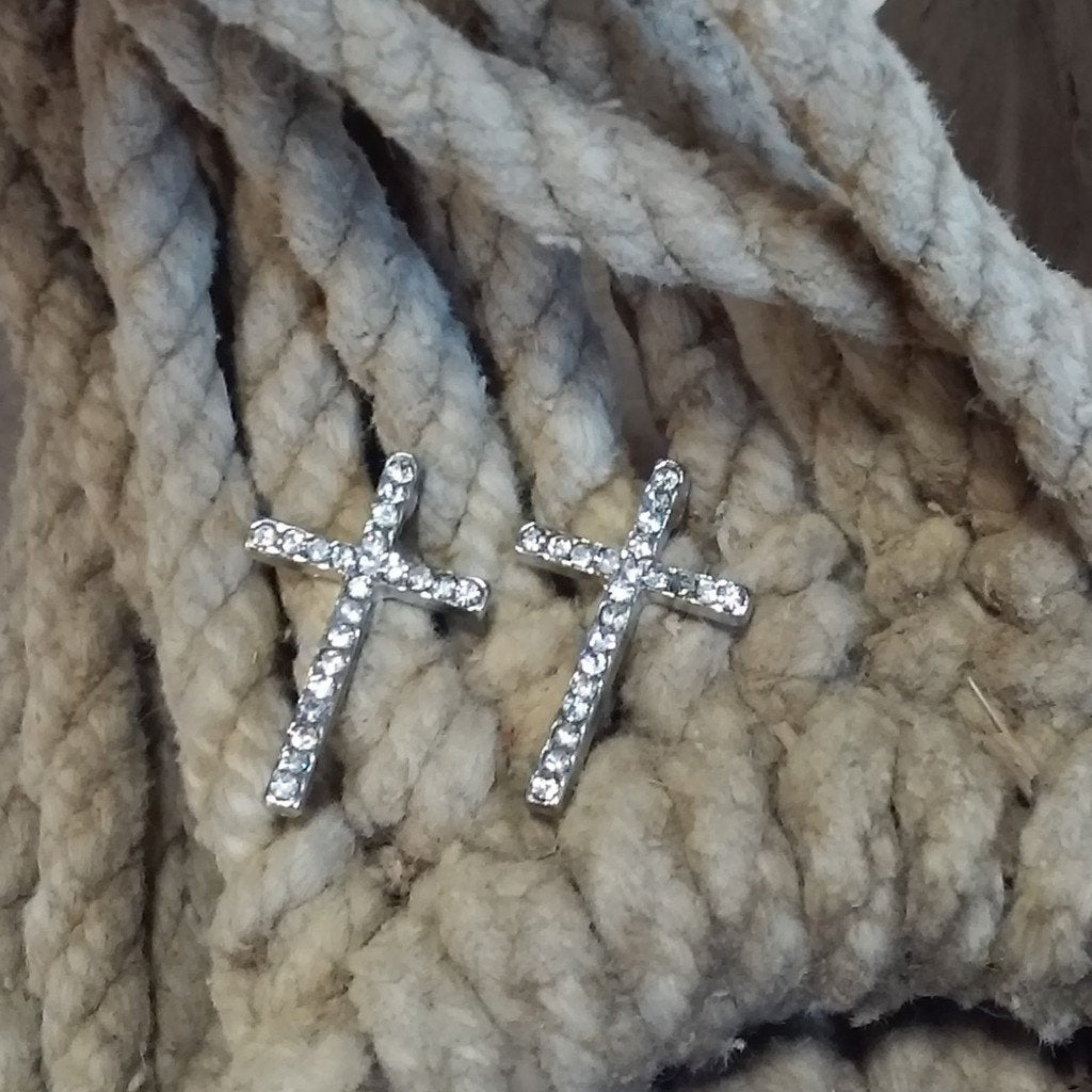 Cross Earrings - Small Clear Rhinestones