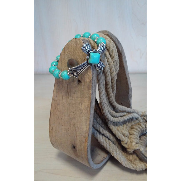 Turquoise Cross Stretch Bracelet - Oak Spring Bling