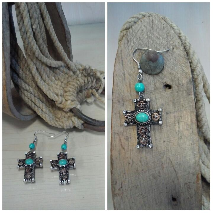 cross earrings with turquoise accent in center