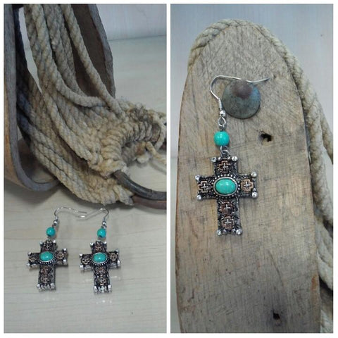 Cross earrings with Turquoise Accents