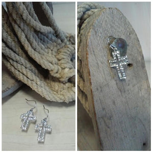 cross earrings with clear rhinestones