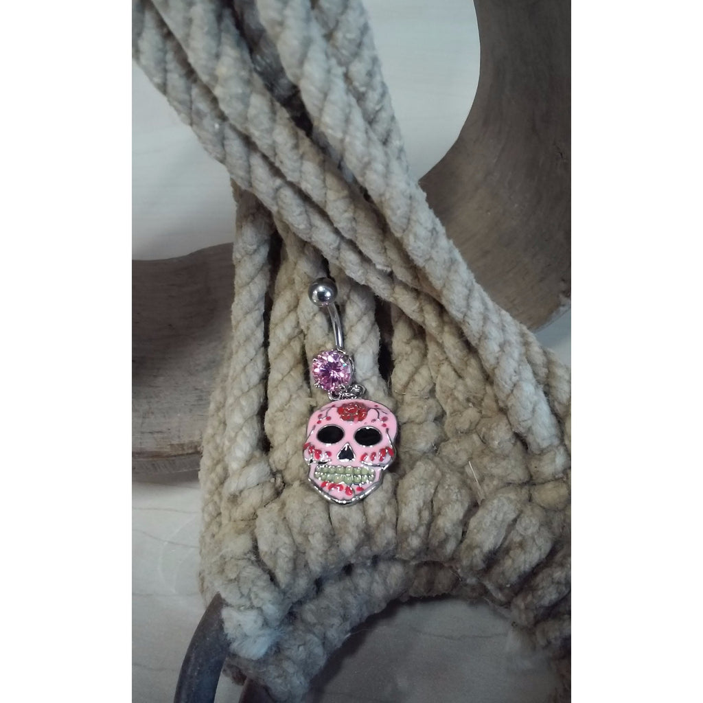 pink enamel sugar skull belly ring