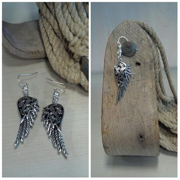 Wing Earrings with Single Bling