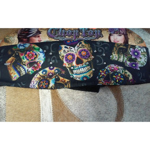 Chop Top Doo Wrap-  Sugar Skull with bling headband - Oak Spring Bling