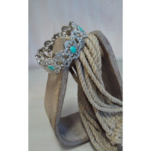 Filigree with Turquoise Accent Stretch Bracelet - Oak Spring Bling