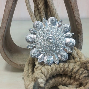Flower Pendant with Clear Rhinestones - Oak Spring Bling