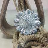 clear flower pendant with rhinestones