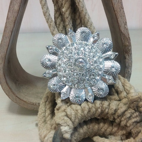Flower Pendant with Clear Rhinestones
