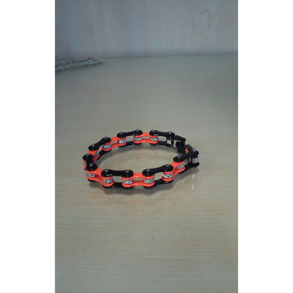 Bike Chain Bracelet - Black & Orange Single Bling - Oak Spring Bling