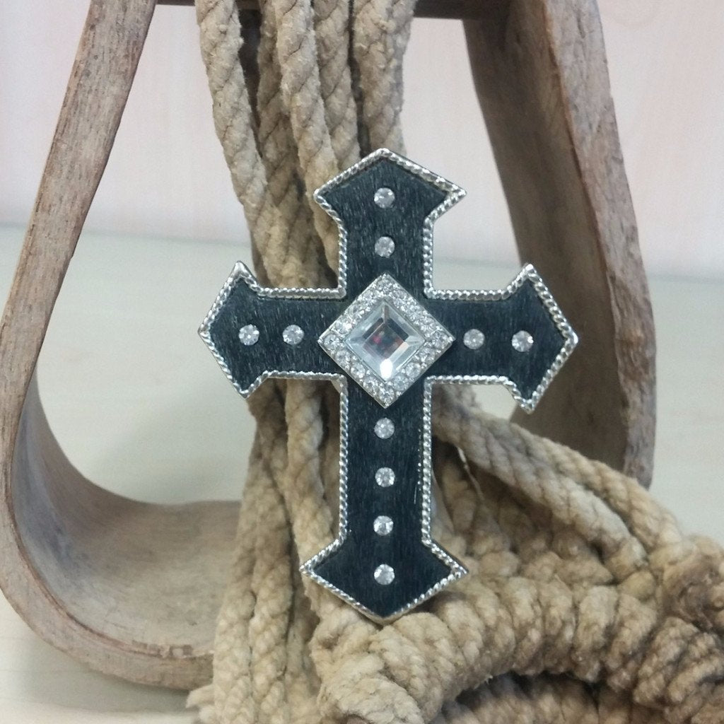 black hair on hide cross pendant