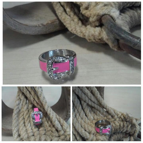 Stainless Steel Buckle Ring - Pink