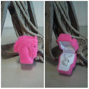 Pink Pony Gift Box - Horse in Heart Necklace - Oak Spring Bling