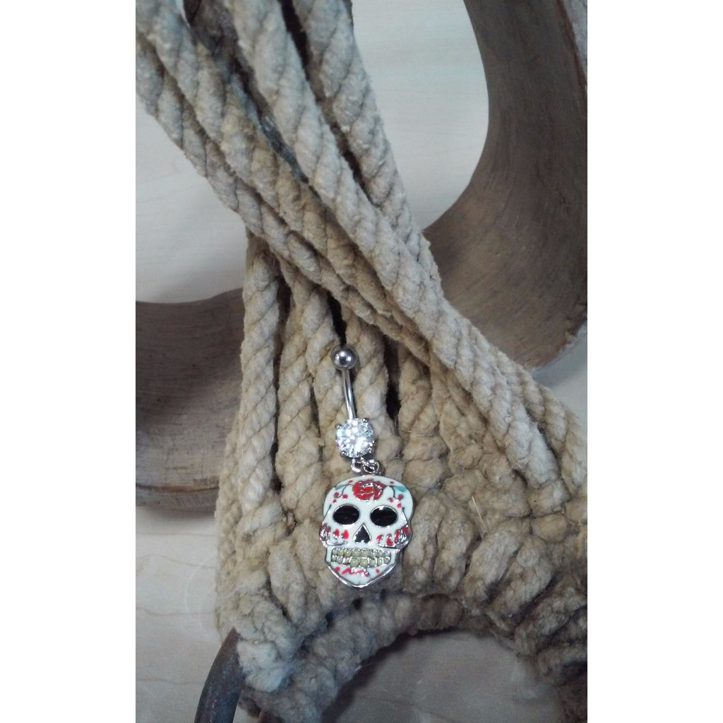White enamel sugar skull belly ring