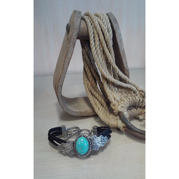 Black Leather Bracelet with Turquoise Center - Oak Spring Bling