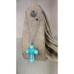 Turquoise Colored Cross with Clear Rhinestones Necklace & Earring Set - Oak Spring Bling