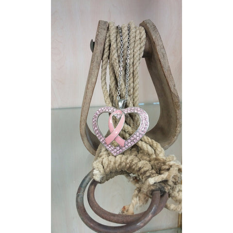 Pink Ribbon In Heart Necklace - Oak Spring Bling