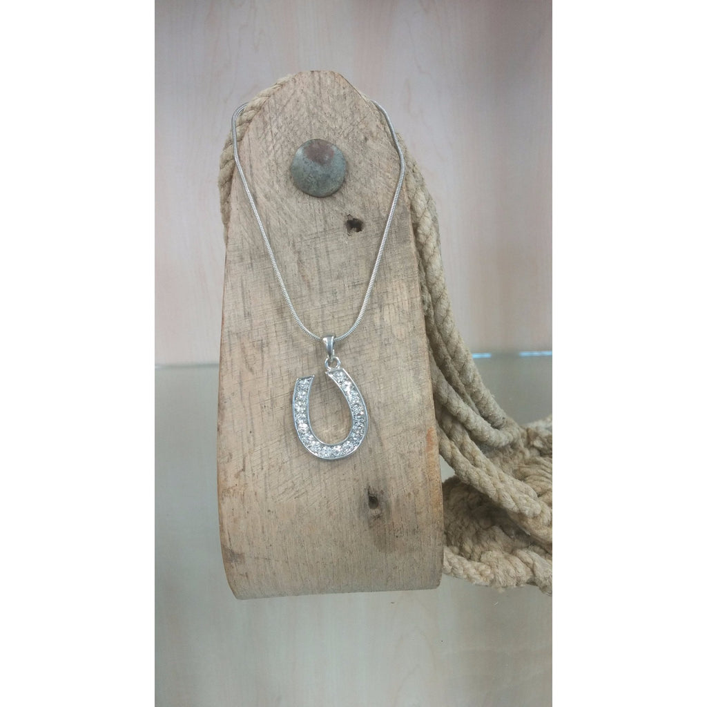 Horseshoe Necklace - Medium, Clear Rhinestones - Oak Spring Bling