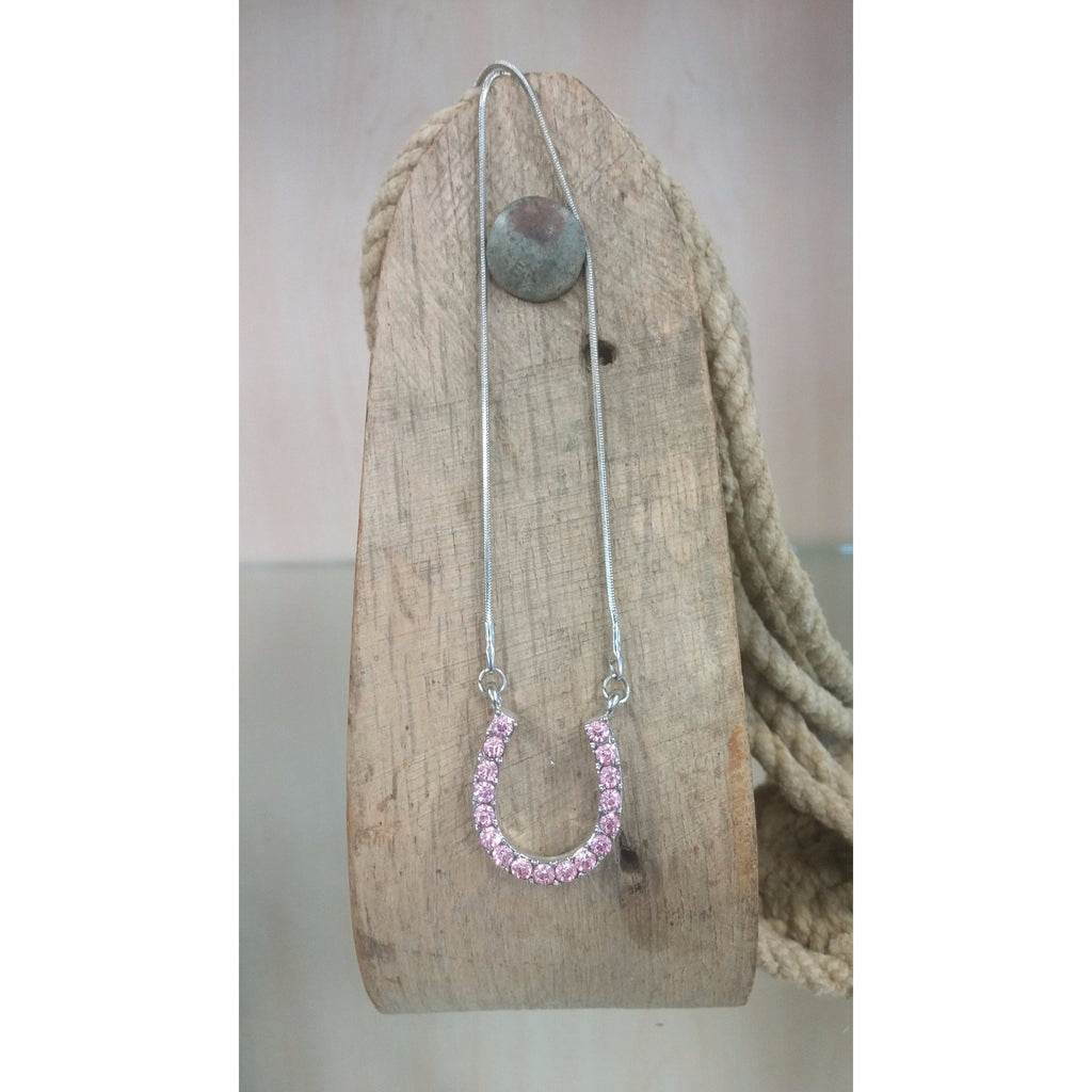 Horseshoe Necklace - Medium, Pink Rhinestones - Oak Spring Bling