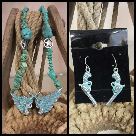 Blue Wing & Pistol Necklace and Earring Set