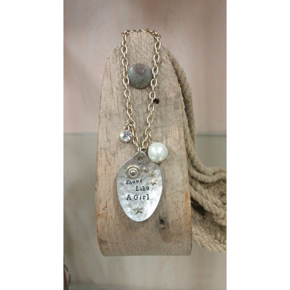 Shoot Like A Girl Necklace - Oak Spring Bling