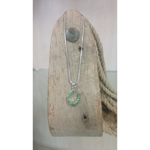 Horseshoe Necklace - Small,  Lime Green Rhinestones - Oak Spring Bling