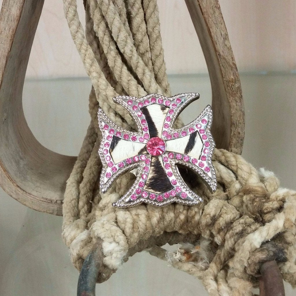 hair on hide celtic cross pendant with pink rhinestones