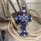 blue rhinestone cross pendant
