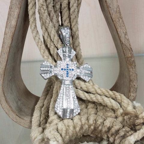 Clear & Blue Rhinestone Cross Pendant