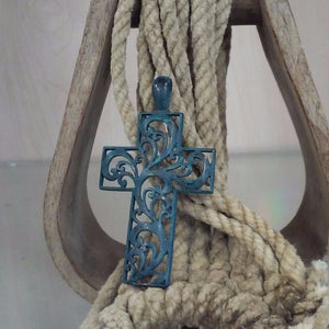 patina colored scroll cross pendant