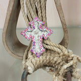 hair on hide cross pendant with pink rhinestones