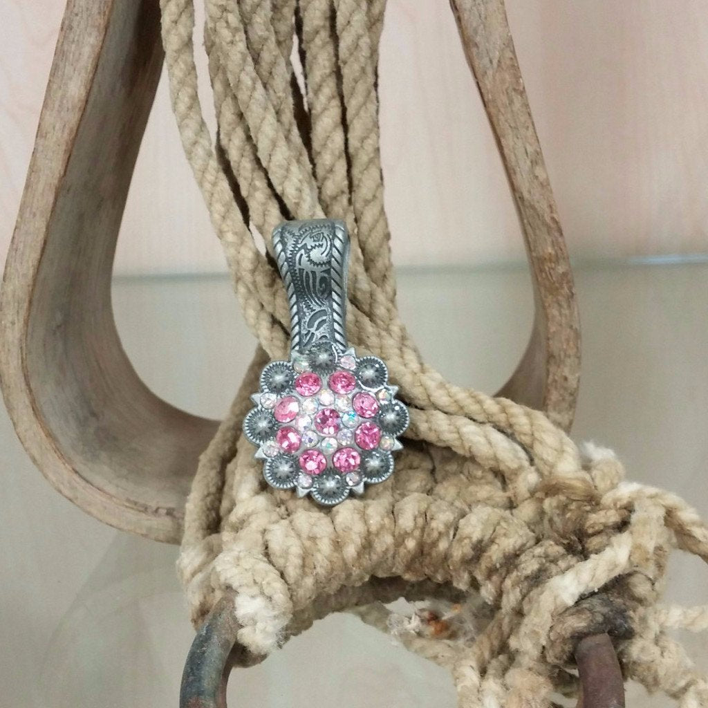 antique silver concho pendant with pink and clear crystals