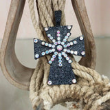 black hammered cross pendant with ab colored spur