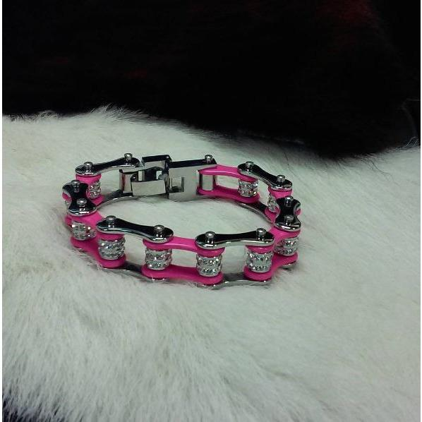 pink and silver bike chain bracelet with bling