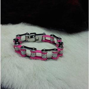 Bike Chain Bracelet - Pink & Silver Double Bling - Oak Spring Bling