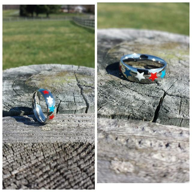 red white and blue star ring