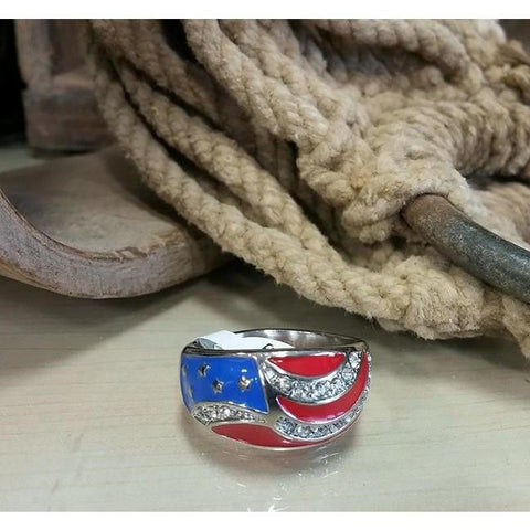 Red White & Blue Stainless Steel Flag Ring with Bling