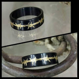 black with gold barbed wire stainless steel ring