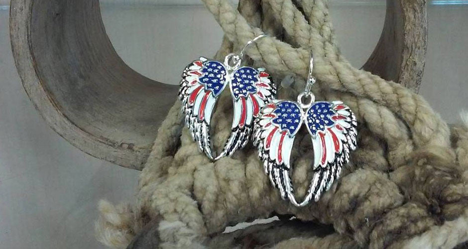 Red white blue double wing earrings