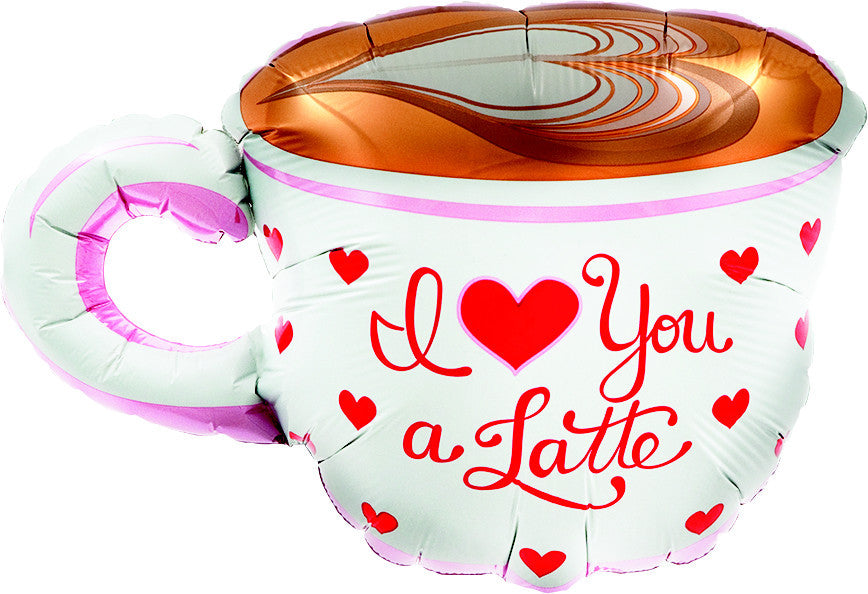 "14"" i love you a latte balloon"