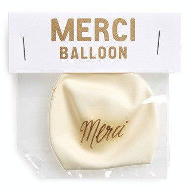 """merci"" white balloon"