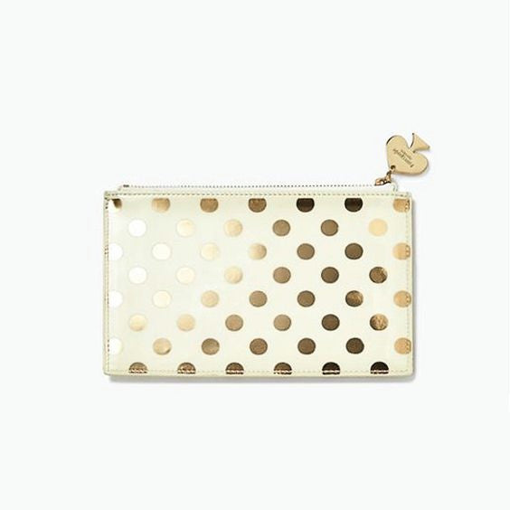 gold dots pencil pouch set - kate spade new york