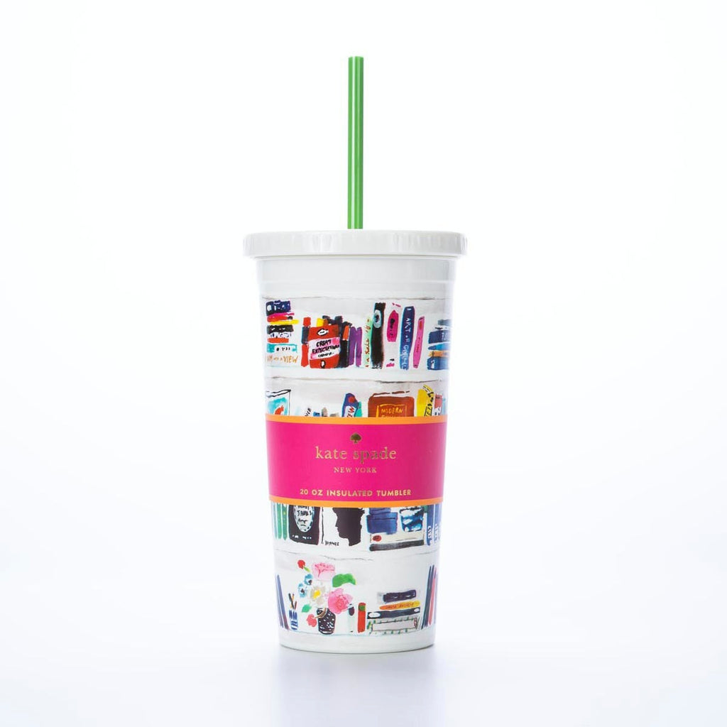 like a book insulated tumbler with straw - kate spade new york