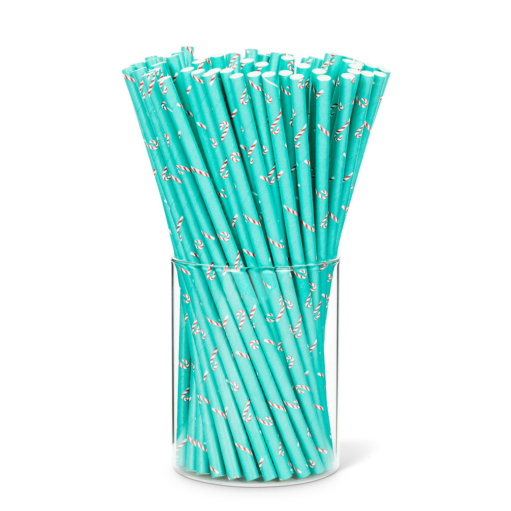 candy cane print paper straws