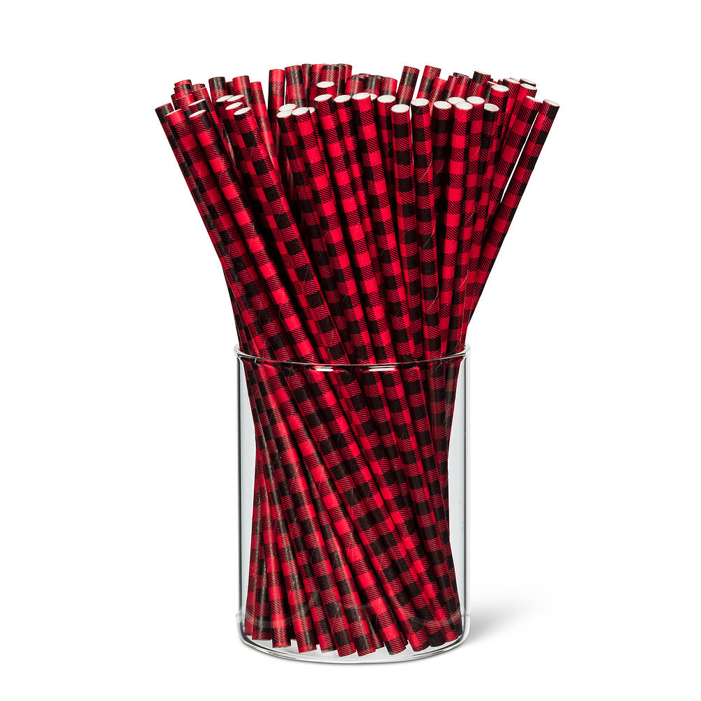 buffalo check paper straws