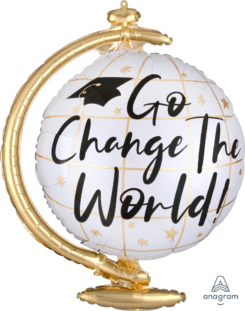 "23"" ""go change the world"" graduation balloon"