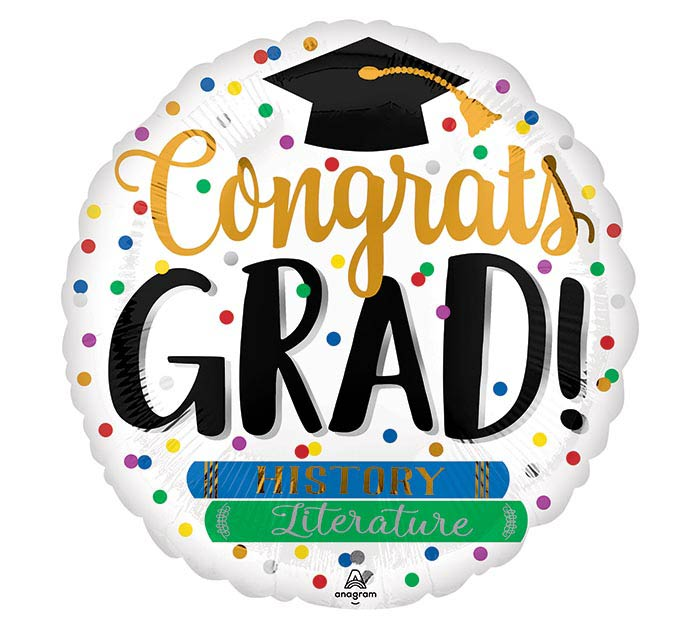 "4"" congrats grad books balloon"
