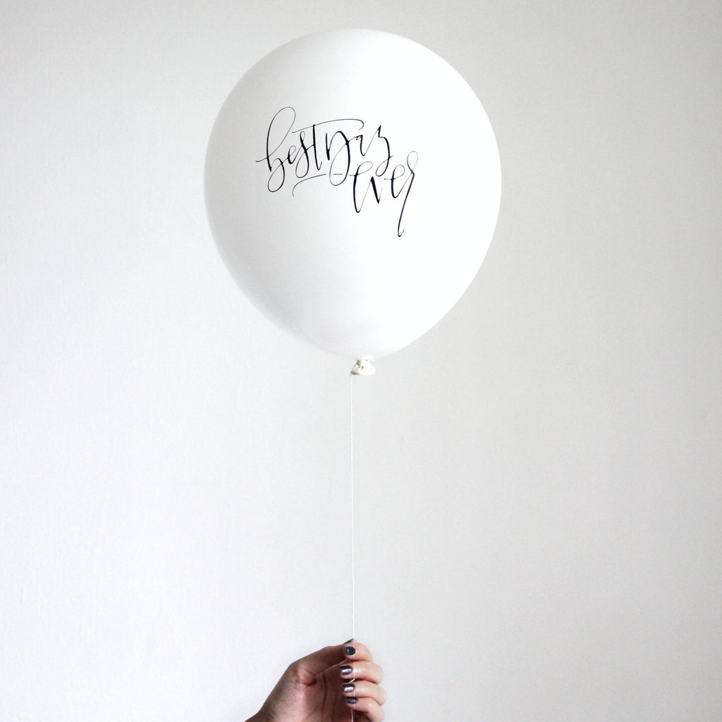 """best day ever"" calligraphy balloons (set of 3)"